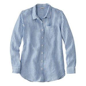 LL Bean Premium Washable Linen Shirt Tunic Stripe